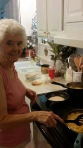 Mama making Hoecake cornbread